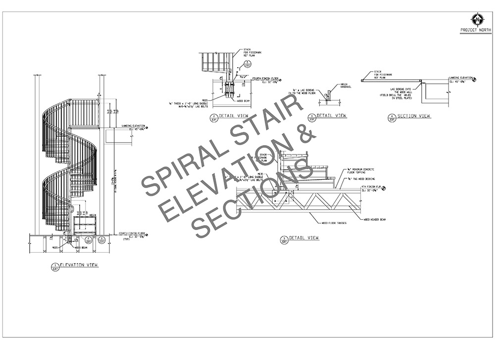 spiral stair erection and sections