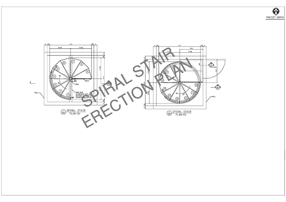 spiral stair erection plan